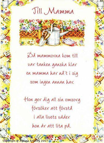 dikt födelsedagskort Morsdag dikt   Till mamma   Vykort, födelsedagskort, grattiskort  dikt födelsedagskort